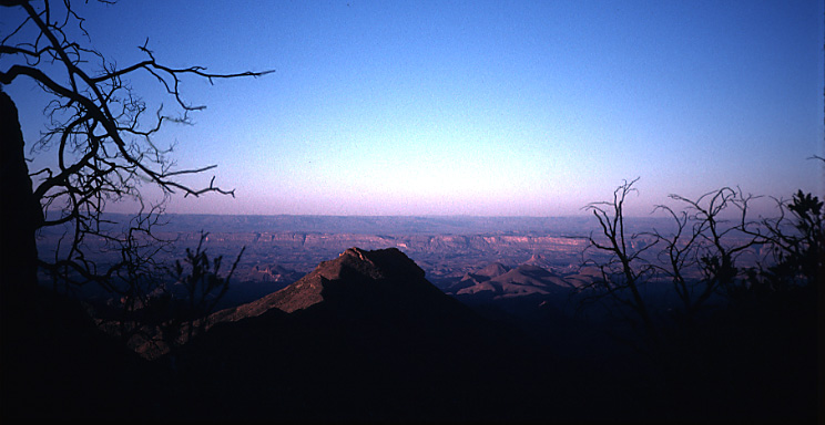 view to west returning from south rim at dawn
